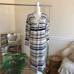 Ayla Francesca's Boho Striped Maxi Knit Cardigan L